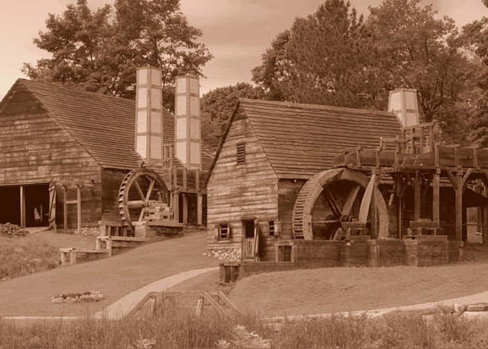 New England Greeting Card featuring the photograph Iron Works Sepia Two by Caroline Stella