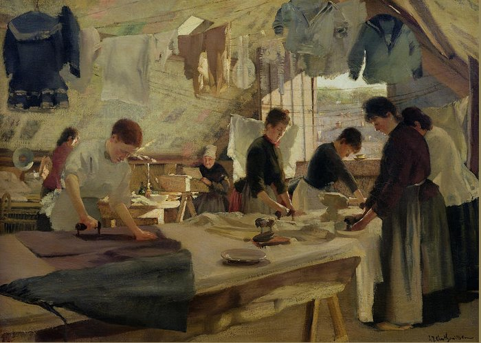 Ironing Greeting Card featuring the painting Ironing Workshop In Trouville by Louis Joseph Anthonissen