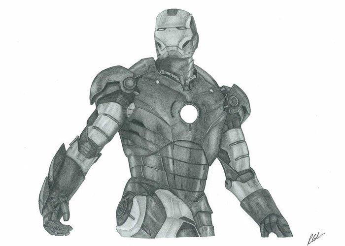 Movie Greeting Card featuring the drawing Ironman by Rich Colvin