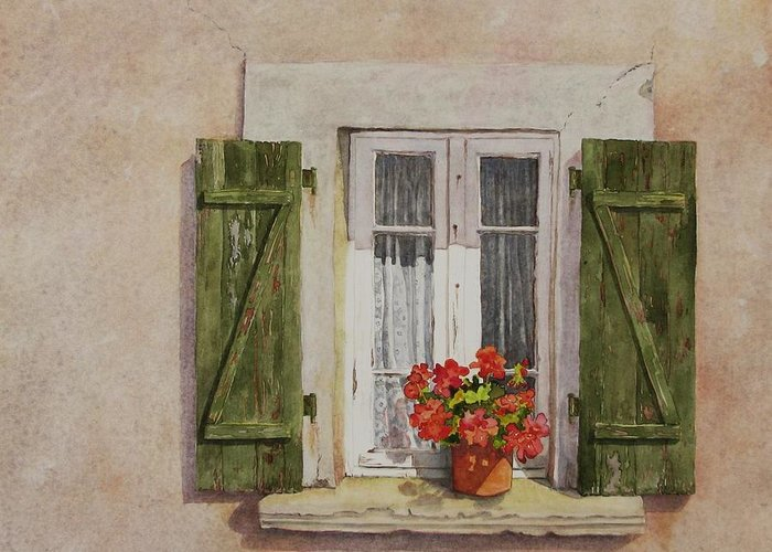 Watercolor Greeting Card featuring the painting Irvillac Window by Mary Ellen Mueller Legault