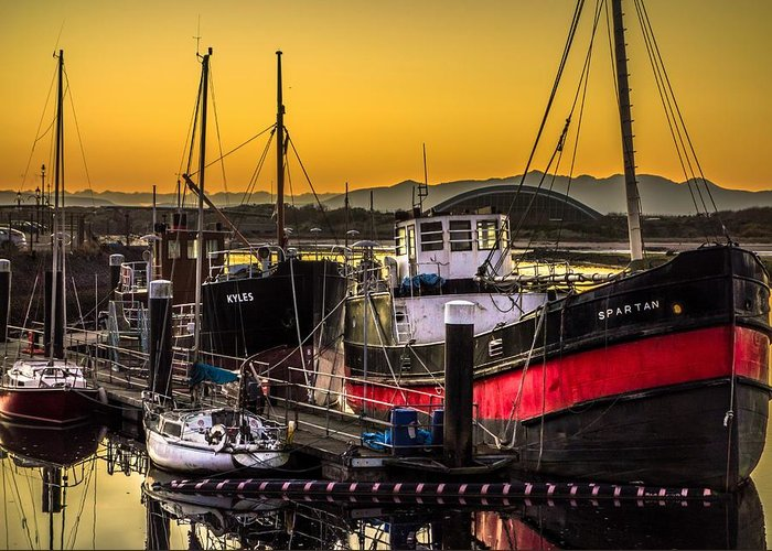 Irvine Greeting Card featuring the photograph Irvine Harbour At Sunset by Tylie Duff