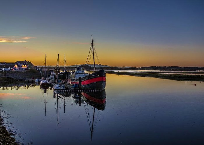 Irvine Greeting Card featuring the photograph Irvine Harbour Scotland At Dusk by Tylie Duff