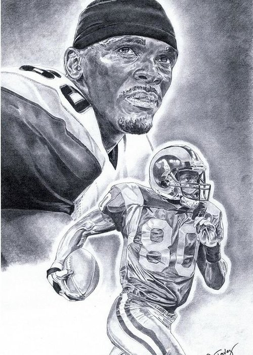 Isaac Bruce Greeting Card featuring the drawing Isaac Bruce by Jonathan Tooley
