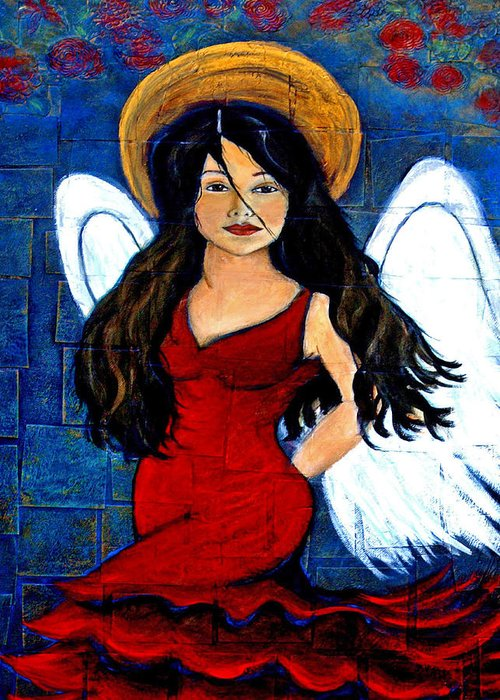 Spanish Greeting Card featuring the painting Isabella A Spanish Earth Angel From Cultures Around The World by The Art With A Heart By Charlotte Phillips