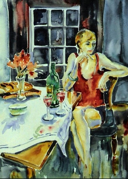 Woman Greeting Card featuring the painting Isabelle From Paris -  by Trudi Doyle