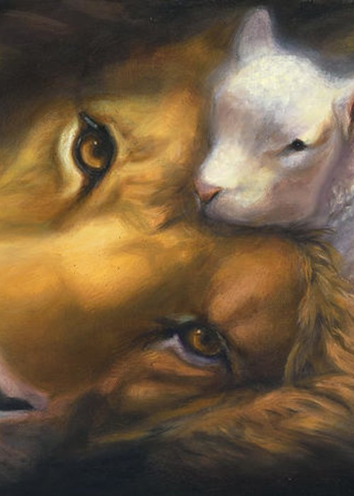 Lion And Lamb Greeting Card featuring the painting Isaiah by Charice Cooper