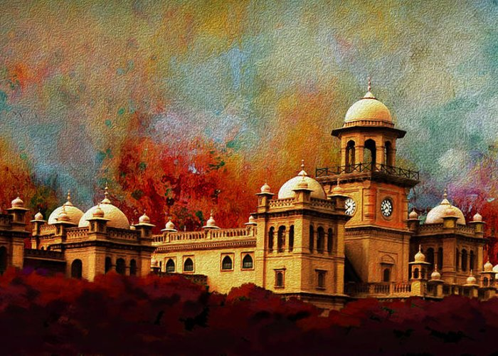 Pakistan Greeting Card featuring the painting Islamia College Lahore by Catf