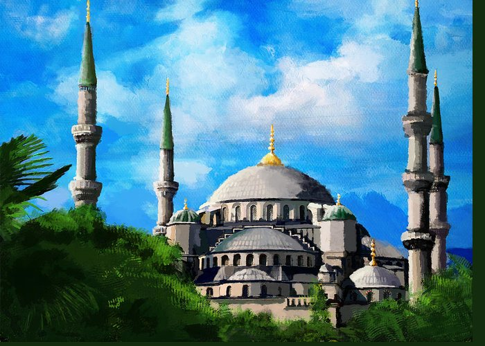 Islamic Greeting Card featuring the painting Islamic Mosque by Catf