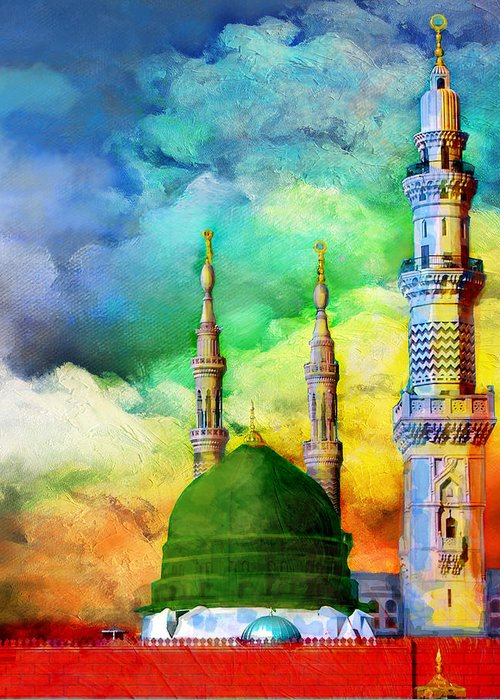 Islamic Greeting Card featuring the painting Islamic Painting 009 by Catf