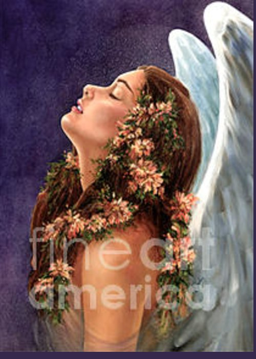Angel Greeting Card featuring the painting Island Angel by Wendy Froshay