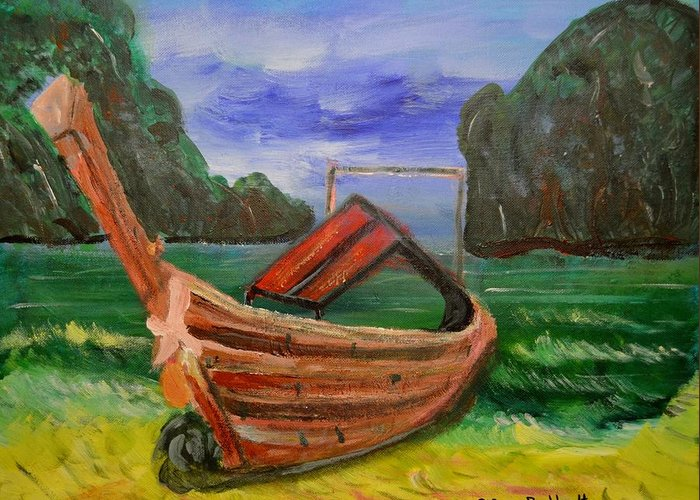 Tropical Greeting Card featuring the painting Island Canoe by Louise Burkhardt