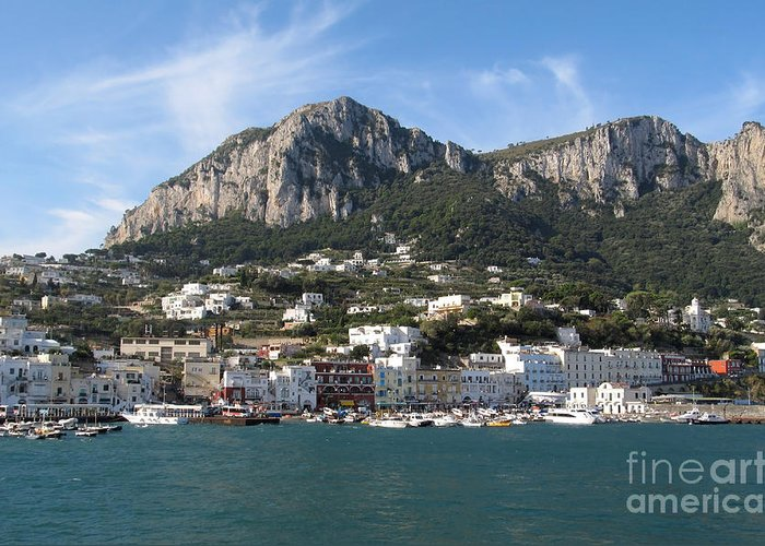 Yachts Greeting Card featuring the photograph Island Capri Panoramic Sea View by Kiril Stanchev