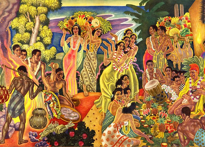 Hawaii Greeting Cards Greeting Card featuring the painting Island Feast by James Temple