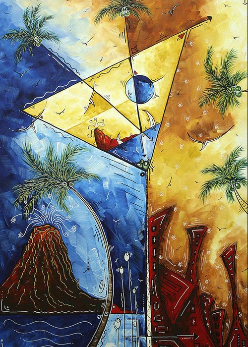 Tropical Greeting Card featuring the painting Island Martini Original Madart Painting by Megan Duncanson