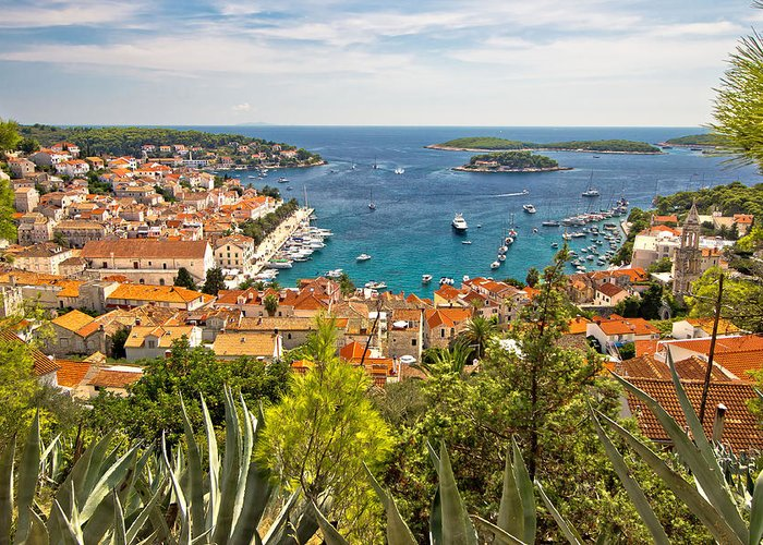Panorama Greeting Card featuring the photograph Island Of Hvar Scenic Coast by Brch Photography