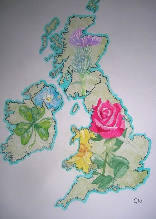 Britain Greeting Card featuring the painting Isles And Flowers by Graham Wood