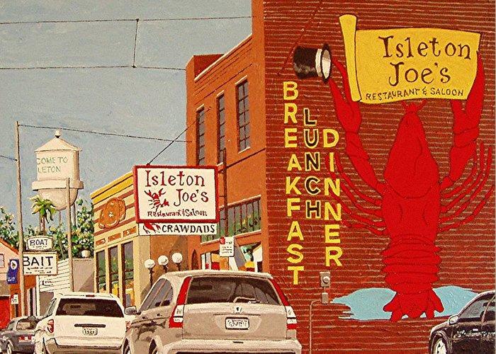 Isleton Greeting Card featuring the painting Isleton Joe's by Paul Guyer