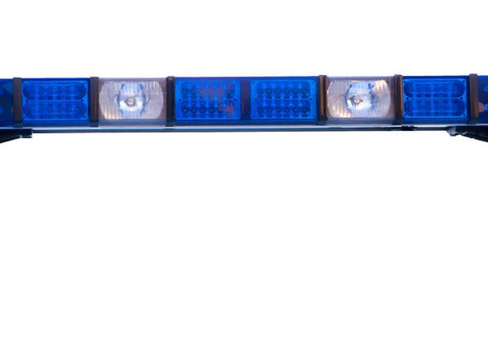 Ambulance Greeting Card featuring the photograph Isolated Police Emergency Light Roof Bar by Fizzy Image