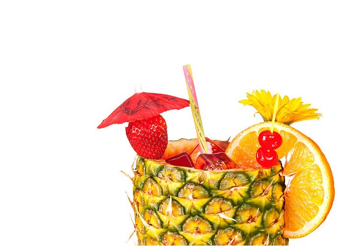 Cocktail Greeting Card featuring the photograph Isolated Tropical Drink by Joe Belanger