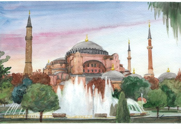 <a Href=http://miketheuer.com Target =_blank>www.miketheuer.com</a> Istanbul Mosque Watercolor Painting Greeting Card featuring the drawing Istanbul Mosque Watercolor Painting by Mike Theuer