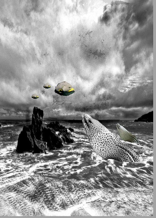 Surreal Greeting Card featuring the digital art It Happened On The Beach by Alfredo Machado
