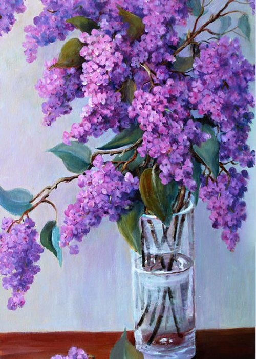 Flowers Greeting Card featuring the painting It Is Lilac Time by Marta Styk