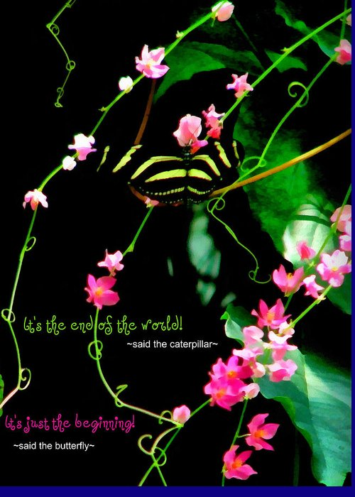 Butterfly Greeting Card featuring the photograph It Is The Beginning by Poetry and Art