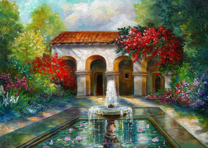 Italian Landscape Greeting Card featuring the painting Italian Abbey Garden Scene With Fountain by Regina Femrite