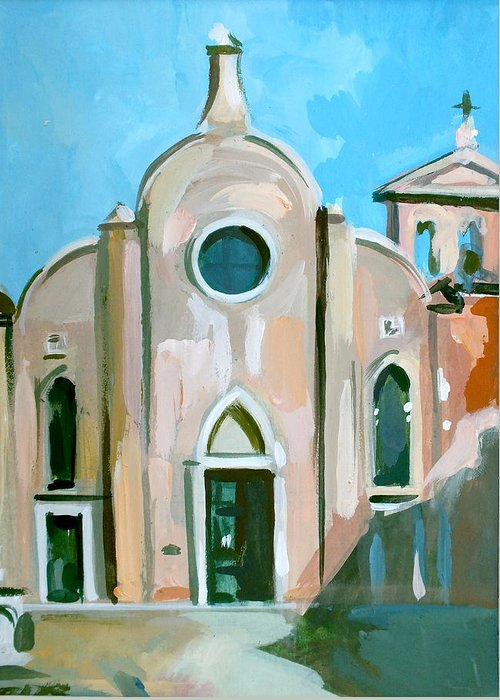 Italian Landscapes Greeting Card featuring the painting Italian Church by Filip Mihail