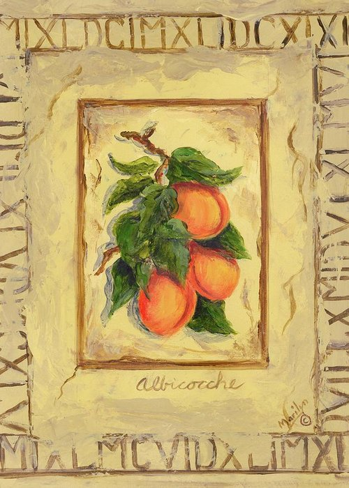Europe Greeting Card featuring the painting Italian Fruit Apricots by Marilyn Dunlap