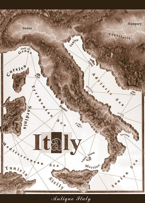 Italian Greeting Card featuring the mixed media Italian Map by Curtiss Shaffer