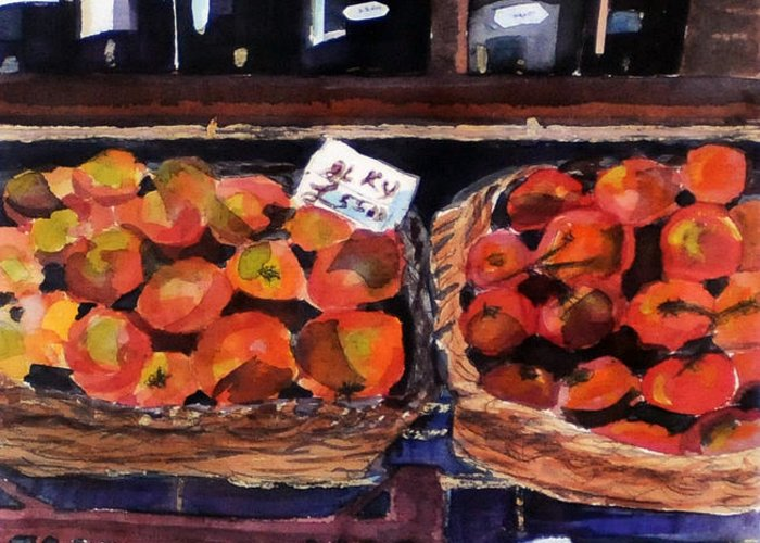 Wine Greeting Card featuring the painting Italian Market by Susie Jernigan