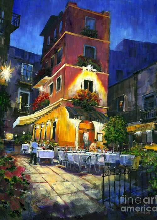 Rome Italy Landscape Greeting Card featuring the painting Italian Nights by Michael Swanson