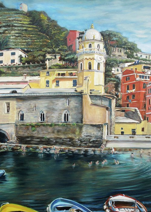 Cinque Terre Greeting Card featuring the painting Italian Riviera - Cinque Terre Colors by Jennifer Lycke