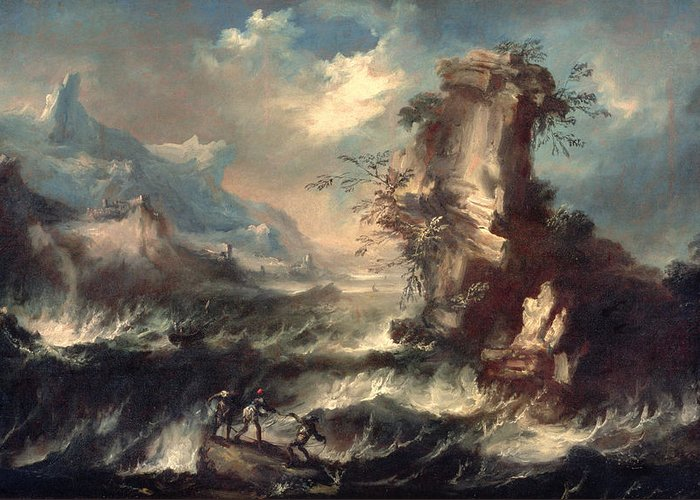 Cliff Greeting Card featuring the painting Italian Seascape With Rocks And Figures by Marco Ricci