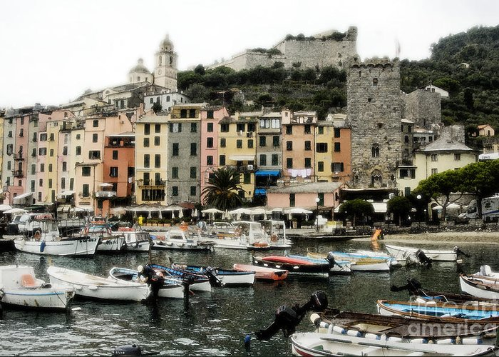 Monterosso Village In The Cinqueterre With Boats Docked In The Harbour Greeting Card featuring the photograph Italian Seaside Village by Jim Calarese