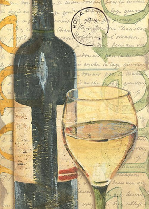 Wine Greeting Card featuring the painting Italian Wine And Grapes 1 by Debbie DeWitt
