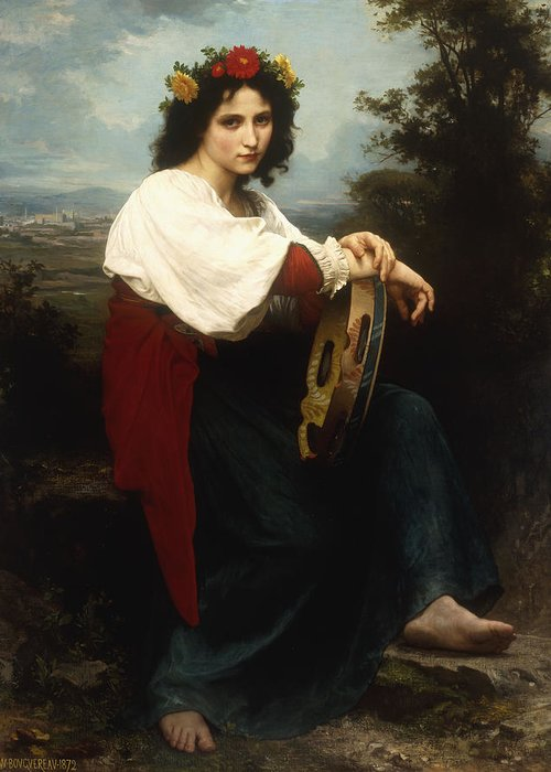 Italian; Woman; Female; Girl; Portrait; Tambourine; Musical; Instrument; Music; Seated; Rural; Landscape; Countryside; Provincial; Flower; Flowers; Hair; Garland; Headdress; Barefoot; Neo-classical; Greeting Card featuring the painting Italian Woman With A Tambourine by William Adolphe Bouguereau