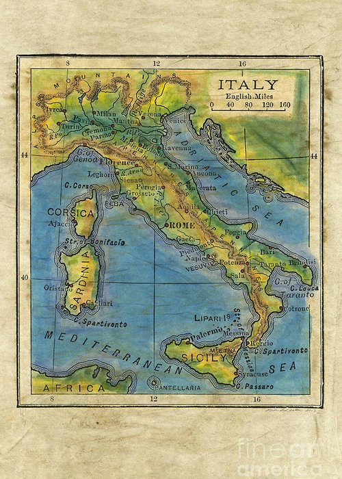 Italy 1906 hand painted map greeting card for sale by lisa middleton maps drawings greeting card featuring the painting italy 1906 hand painted map by lisa middleton gumiabroncs Images