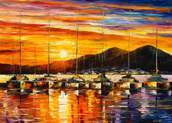 Italy Greeting Card featuring the painting Italy Naples Harbor by Leonid Afremov