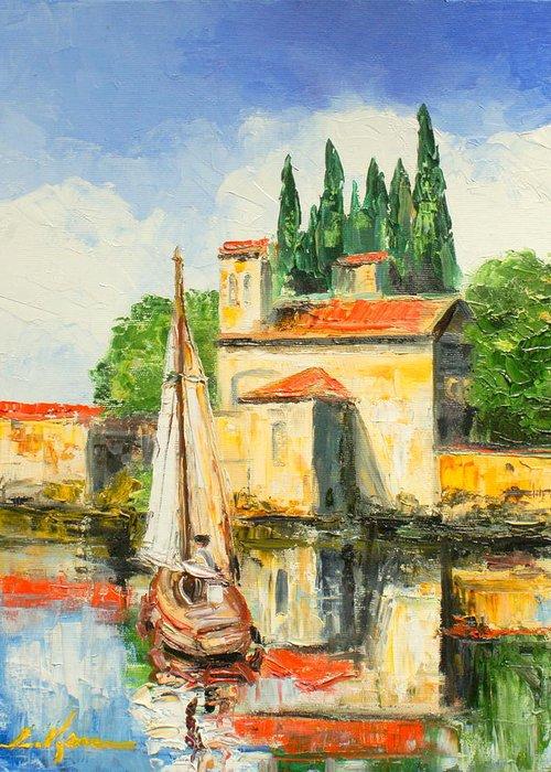 San Vigilio Greeting Card featuring the painting Italy - San Vigilio by Luke Karcz