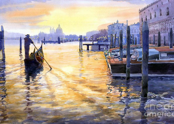 Watercolor Greeting Card featuring the painting Italy Venice Dawning by Yuriy Shevchuk