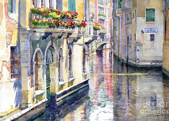Watercolor Greeting Card featuring the painting Italy Venice Midday by Yuriy Shevchuk