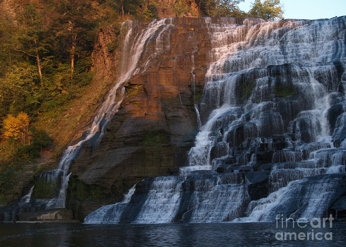 Ithaca Falls Greeting Card featuring the photograph Ithaca Falls -- Late Afternoon by Anna Lisa Yoder