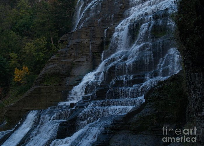 Ithaca Falls Greeting Card featuring the photograph Ithaca Falls At Dusk by Anna Lisa Yoder