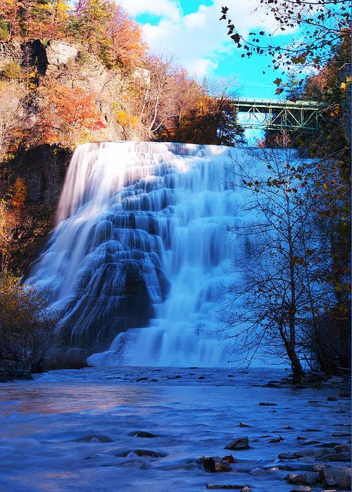 Ithaca Greeting Card featuring the photograph Ithaca Water Falls New York Panoramic Photography by Paul Ge
