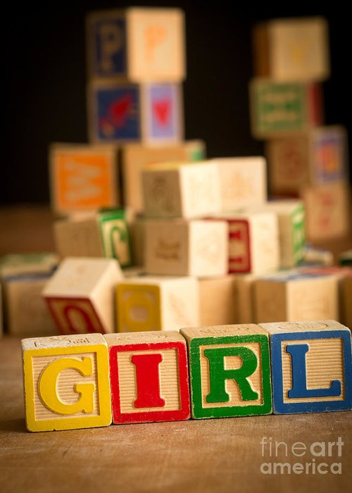 Abcs Greeting Card featuring the photograph Its A Girl - Alphabet Blocks by Edward Fielding