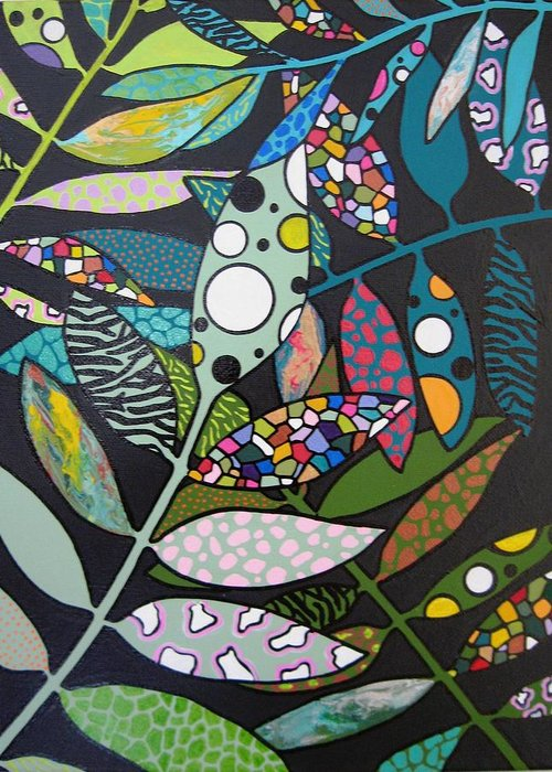 Leaves Greeting Card featuring the painting It's A Jungle Out There by Ivy Stevens-Gupta