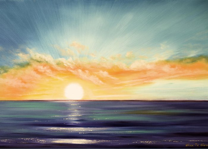 Sunset Greeting Card featuring the painting It's A New Beginning Somewhere Else by Gina De Gorna