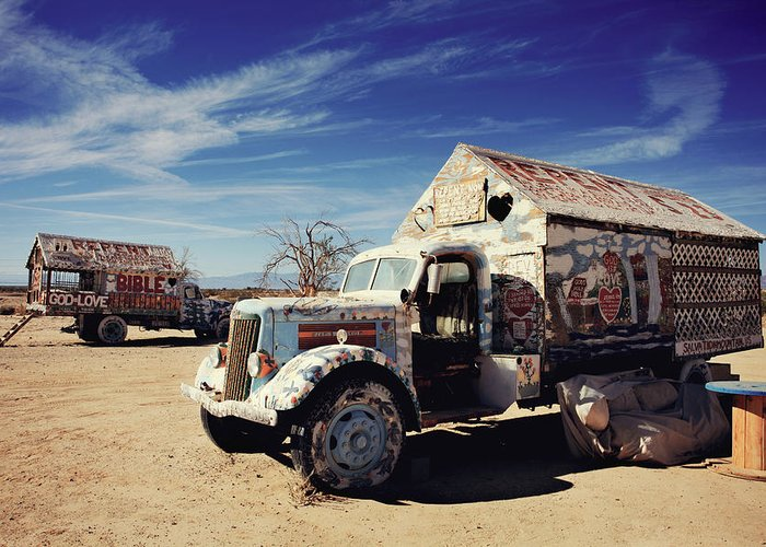 Salvation Mountain Greeting Card featuring the photograph It's All About Love by Laurie Search